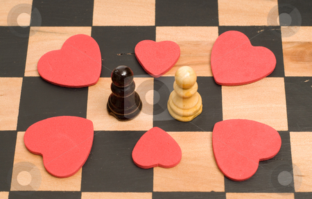 Romance Concept stock photo, Concept image of love and romance, using chess pieces and red hearts by Richard Nelson