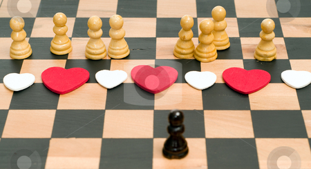 Male vs Female stock photo, Conceptual image of a man in love with an assortment of women, using chess pieces to convey the concept by Richard Nelson