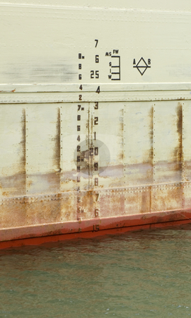 Depth stock photo, Waterline depth indicator on a rusty old ship by Jonathan Hull