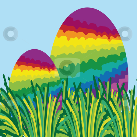 Two rainbow easter eggs hidden in the grass stock vector clipart, Two rainbow colored easter eggs hidden in the grass by Karin Claus