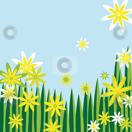 Flower meadow stock vector clipart, Nice flower meadow in green white and yellow with blue sky by Karin Claus