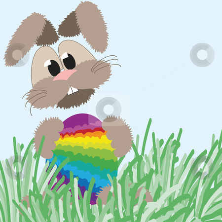 Happy fluffy bunny and easter rainbow egg  stock vector clipart, Happy fluffy easter bunny holding an colorful easter egg in rainbow colors by Karin Claus