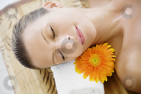 Wellness  stock photo, Young female relaxing at the spa-wellness center by Liv Friis-Larsen