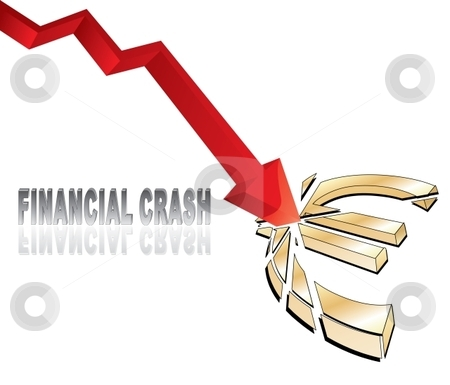 Financial crash stock vector clipart, Financial crash with red diagram arrow smashing euro sign illustration by Milsi Art