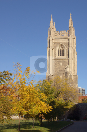 Tower stock photo, Brick stone tower on blue sky background by Pavel Cheiko