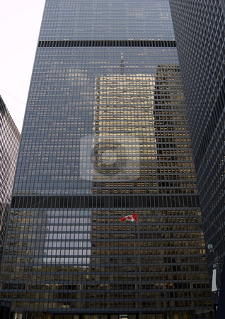 Flag stock photo, Canadian flag on high building background by Pavel Cheiko