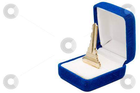 House Key stock photo, A house key in a jewlers box. by Robert Byron