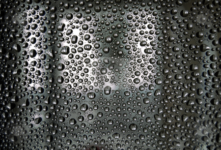 Water drops stock photo, Gray water drops on a blur window background by Pavel Cheiko