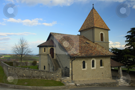 Little church stock photo, The little church in the vineyards at Luins, Switzerland. by Alistair Scott