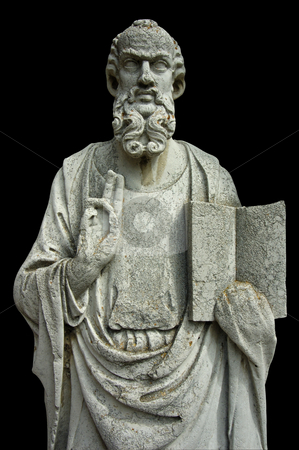 Stone figure stock photo, An ancient stone statue on the island of Torcello, in Venice, Italy, holding open a book and making the sign of a blessing. by Alistair Scott