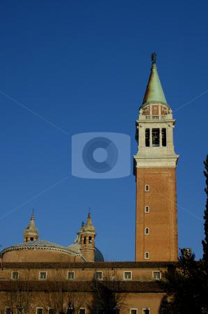 The Campanile of San Giorgio Maggiore stock photo, The bell tower of the church of San Giorgio Maggiore, Venice, in the early morning light by Alistair Scott