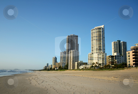 Surfers Paradise Skyline stock photo, The Southern end of the Surfers Paradise skyline in Australia seen from the beach. by Brett Mulcahy