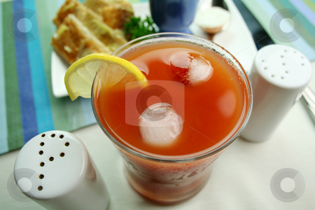 Tomato Juice stock photo, Fresh tomato juice on ice with a slice of lemon. by Brett Mulcahy