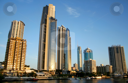 Surfers Paradise Skyline stock photo, View of Surfers Paradise Australia skyline from The Chevron Bridge. by Brett Mulcahy