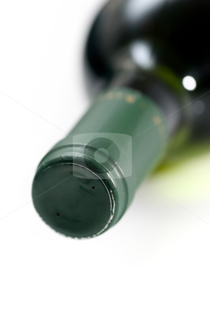 Wine bottle neck stock photo, Closeup of the neck of a wine bottle, lying on its side. by Kevin Woodrow