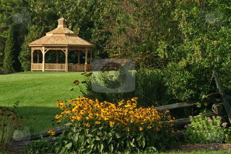 Gazeebo in the distance stock photo, A gazeebo in the distance at the University of Guelph Arboretum. by Kevin Woodrow