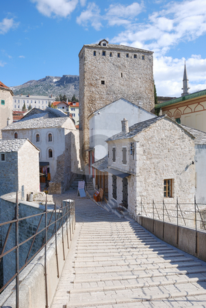 Old Bridge East Tower in Mostar stock photo, View from the Old Bridge of the east tower in Mostar old town on a sunny day. by Denis Radovanovic