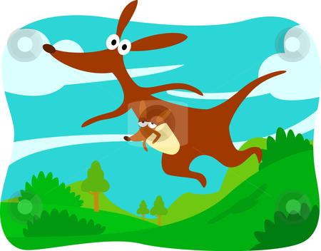 Cartoon kangaroo stock vector clipart, Collection character design cartoon animals by Larintorn Promin