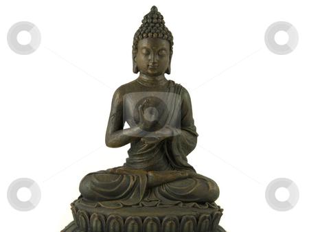 Statue of Buddha stock photo, A golden buddha statue sits in peaceful meditation by Gert-Jan Kappert