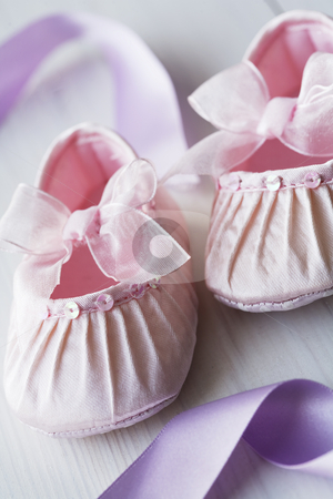 Girly baby shoes stock photo, Closeup pf satin baby shoes by Liv Friis-Larsen