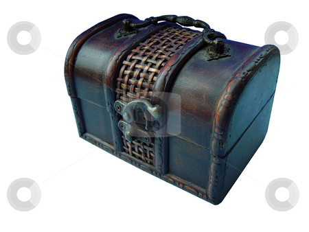 Treasure chest stock photo, A close detail of treasure like chest isolated on white by Tudor Antonel adrian