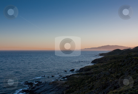 Coasline view at dusk stock photo, View of  southern spain coastline Mojacar at the other side of the bay by Santiago Hernandez