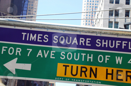 Traffic sign in New York stock photo, Times square traffic sign on New York street by Julija Sapic