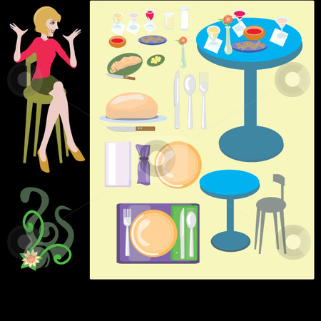 TABLE SETTING stock vector clipart, Table setting, food, drink and various items are grouped with a woman happy to dine looking on, also included is a flower corner accent. by Maggie Bates