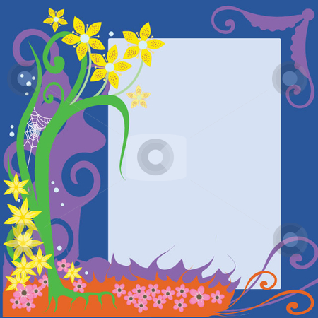 Flower border stock vector clipart, Cheerful spring flower border in colorful arrangement including yellow and pink flowers intermingled with vines and grass, also includes a peapod corner accent, a spider and a spider web. by Maggie Bates