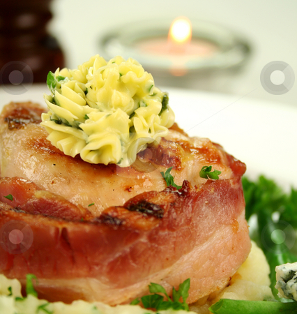Chicken Fillet Mignon stock photo, Chicken fillet mignon wrapped in bacon on parsley mashed potato with green beans. by Brett Mulcahy