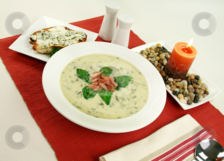 Creamy Spinach Soup stock photo, Creamy spinach soup with crispy bacon and blue cheese toast. by Brett Mulcahy