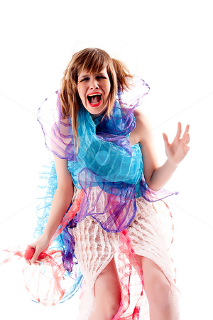Teenage girl being hysterical in a special dress stock photo, Studio portrait of a teenage girl in specially designed dress screaming by Frenk and Danielle Kaufmann
