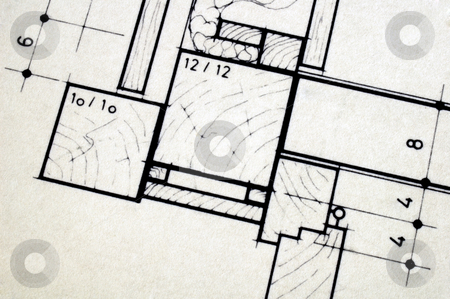 Building plans stock photo, Close up detail of architect's plans for a house. Space for text in the bottom left-hand corner. by Alistair Scott