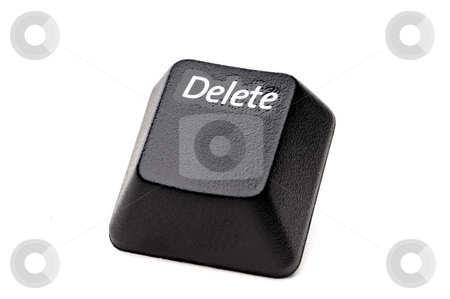 A horizontal closeup of a Delete button from a computer keyboard stock photo, A horizontal closeup of a Delete button from a computer keyboard on white by Vince Clements