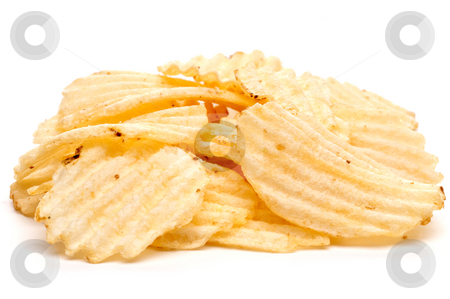 A horizontal closeup of a handfull of potato chips on a white ba stock photo, A horizontal closeup of a handfull of potato chips on a white background by Vince Clements