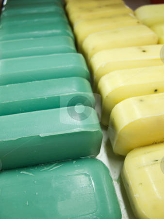 Bar Soap Lineup stock photo, Two Lines of bar soap, with room on the first bar for copy space. by Kevin Woodrow