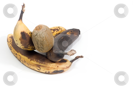 Over-ripened bananas  stock photo, 3 over-ripened bananas and a kiwi, isolated on white. by Kevin Woodrow