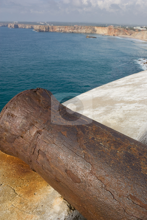 Cannon ready to fire stock photo, An old cannon which protects this fort from enemy ships.  Fortaleza de Sagres, Portugal by Kevin Woodrow