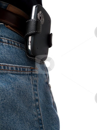 Back Pocket Series - PDA stock photo, A PDA (Windows Mobile device) in a holster, attached to a belt of an IT worker, wearing jeans, shot from behind, with back pocket visible, isolated on white. by Kevin Woodrow
