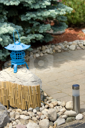 Chinese Garden stock photo, A small chinese inspired garden / patio. by Kevin Woodrow