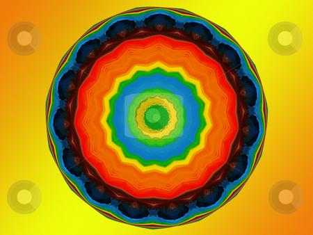 Chakra Mandala stock photo, Spiritual mandala featuring the seven colors of the chakra, representing spiritual advancement by Sandra Fann
