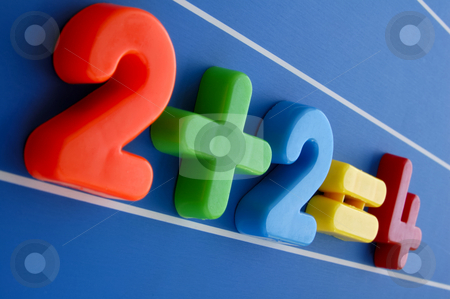 Giant sum stock photo, A simple equation, from a child's toy number set, looms large and intimidating  over the viewer. Is this what a sum looks like to a child having difficulty with maths? by Alistair Scott