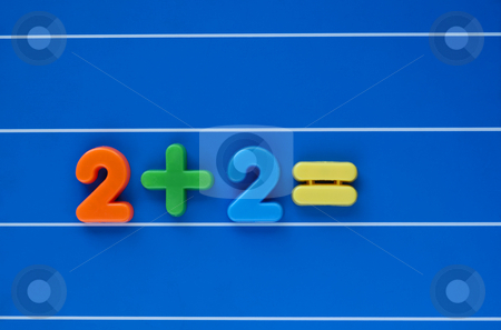 Simple sum stock photo, A sum, from a child's toy number set, placed in the middle of a blue, lined background. Answer left blank. by Alistair Scott