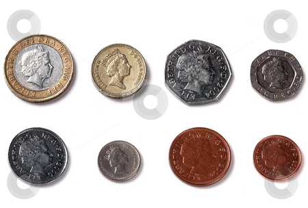 Isolated Back facing coins of United Kingdom, England stock photo, Isolated Back Facing Coins of United Kingdom, England by Mark Allchin