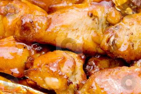 BBQ Chicken Wings stock photo, Delicious baked chicken wings with a tangy barbeque sauce. by Robert Byron