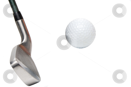 Golf  stock photo, A golfer's iron and a white golf ball. by Robert Byron