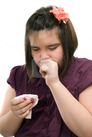 Sick Child stock photo, A young girl is sick and is coughing, isolated against a white background by Richard Nelson