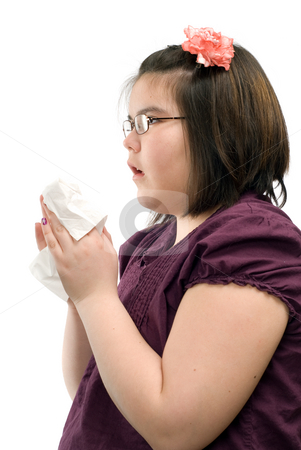 Sneezing Child stock photo, A child holding a handkerchief is about to sneeze, isolated against a white background by Richard Nelson