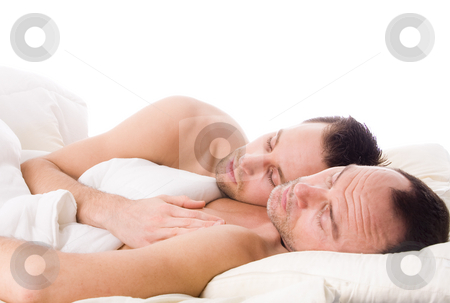 Sleeping gay couple stock photo, Happy homo couple in a white bed taking care of his boyfriend by Frenk and Danielle Kaufmann