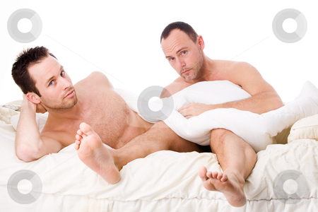 Happy homo life stock photo, Happy homo couple in a white bed taking care of his boyfriend by Frenk and Danielle Kaufmann